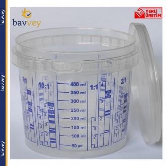 0.5 Litre (400 ml) Ölçekli Karıştırma Kabı ve Kapağı
