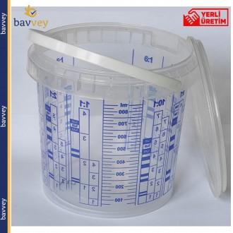 1.0 Litre (850 ml) Ölçekli Karıştırma Kabı ve Kapağı